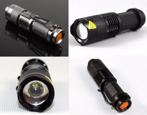 lámpara táctica led cree q5, zoom, 5 pasos, edc