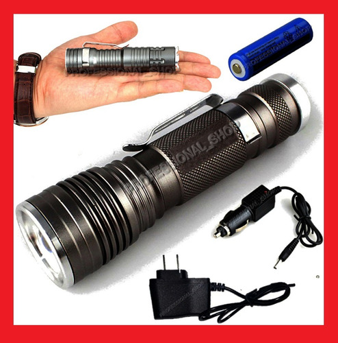 lampara tactica mini 3100 lumens cree led xml-t6 recargable