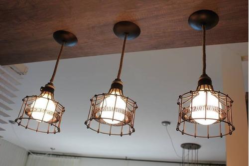 lampara techo alambre rustica estilo industrial apto led