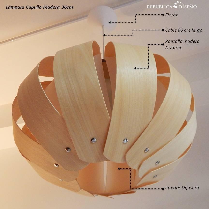 lmpara techo capullo xcm madera natural diseo moderno