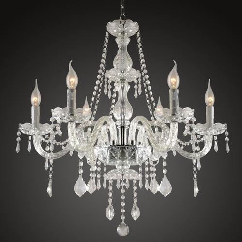 lampara techo colgante candelabro cristal y acero inoxidable