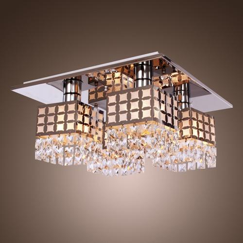 lámpara techo colgante cuadrada acero inoxidable 4 bombillos