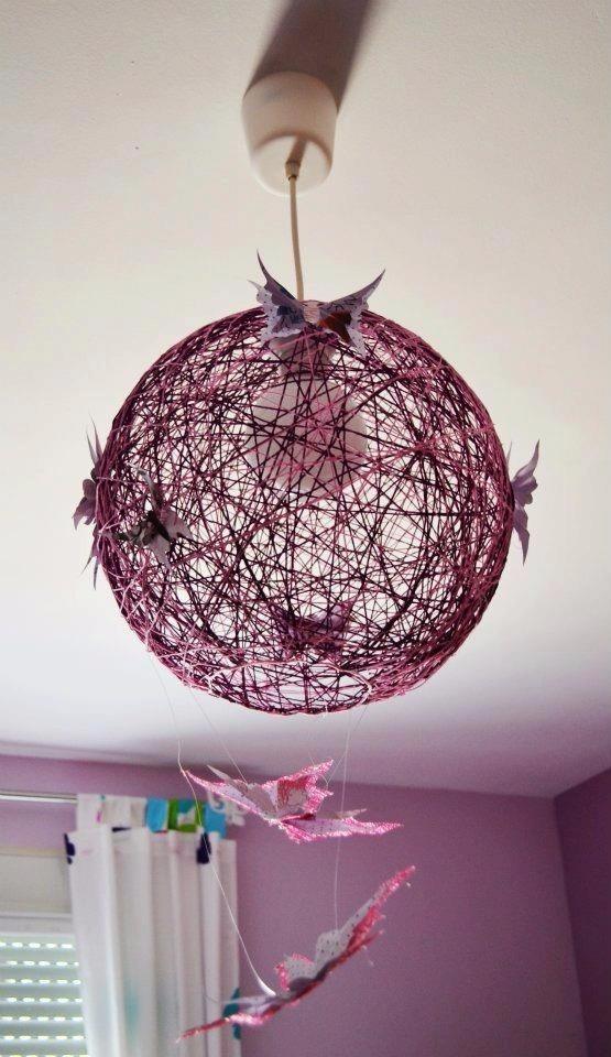 Lampara techo colgante henequen esferica industrial - Lamparas originales de techo ...