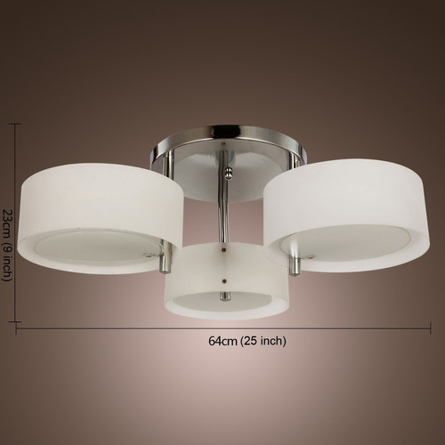 lámpara techo colgante moderna acrílico cromada 3 bombillos