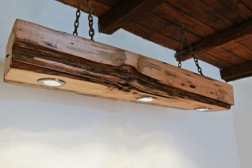 Lampara Techo Madera Durmiente 3 Dicroicos Empotrados 155000 En - Lamparas-de-techo-en-madera