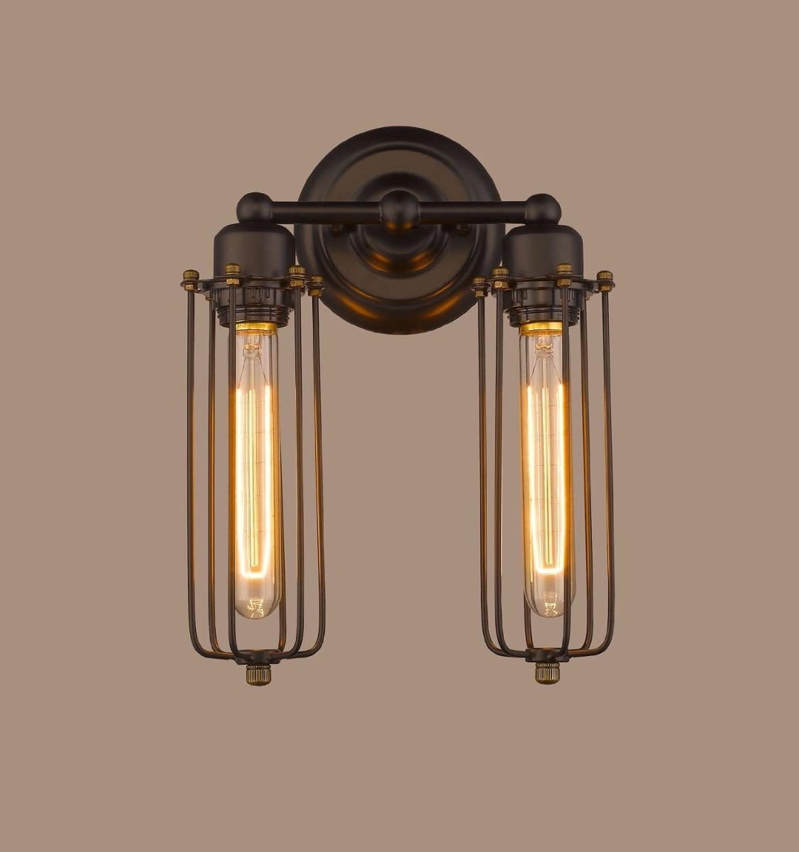 L mpara tipo jaula pared vintage 2 luces bulbos edison - Lampara tipo industrial ...