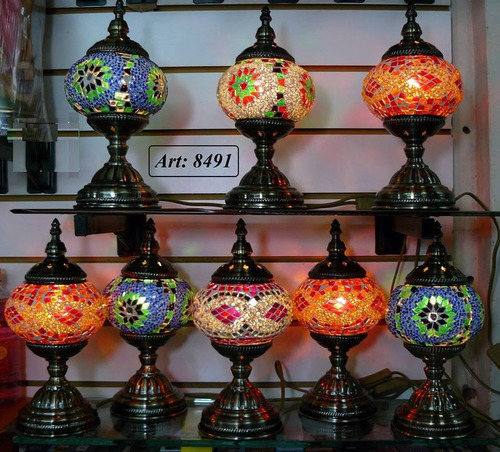 lampara turca pie recto metal lustrado nº2  30 x 15 cm