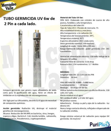 lampara ultravioleta uv 6w germicida filtro de agua purifica