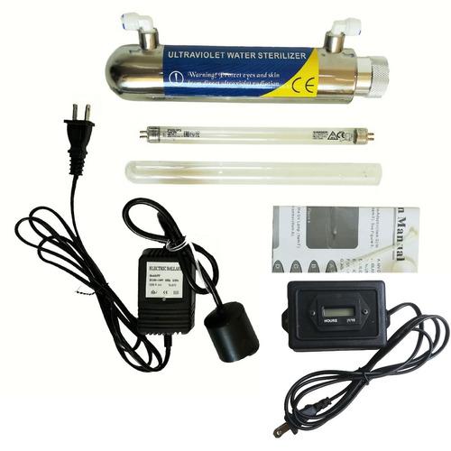 lampara ultravioleta uv 6w + horómetro contador horas filtro