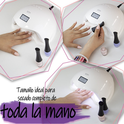 lampara uv uñas profesional digital gelish spa 48 watts led