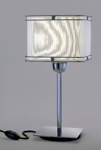 lampara velador acero cromo deco moderna apto led