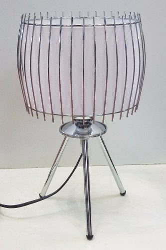 lampara velador acero cromo tripode deco moderna apto led