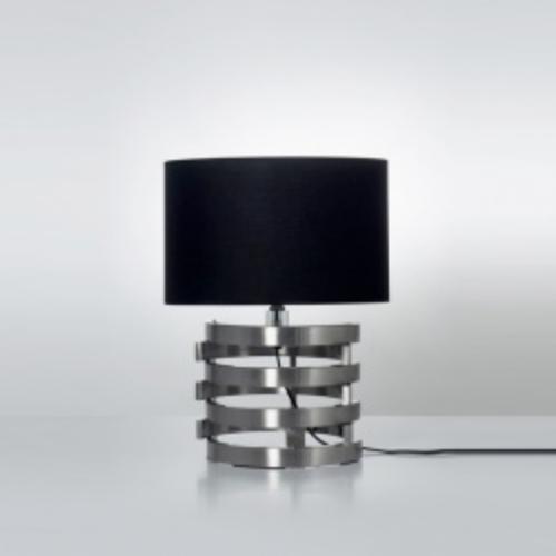 lámpara velador  acero pantalla negra