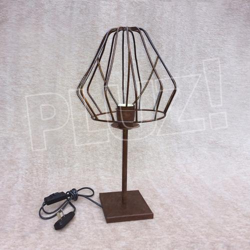 lámpara velador c/ pantalla jaula diamante hierro óxido