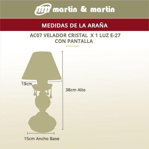 lámpara velador cristal bajo consumo led martin y martin