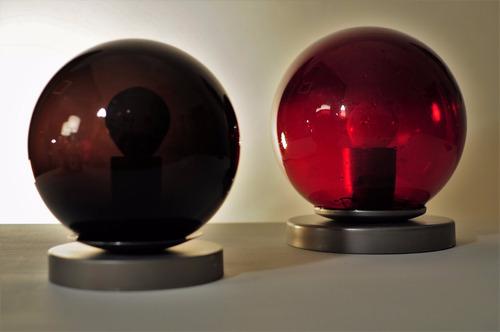 lampara velador de diseño. tulipa globo vidrio negro 12 cm
