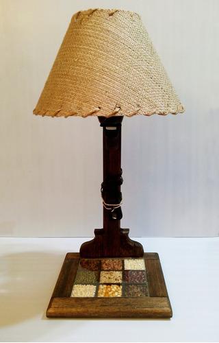 lampara velador en madera rustica cerealero