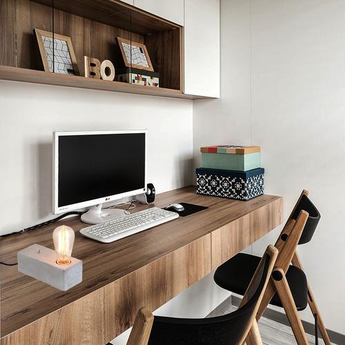 lámpara velador escritorio mac cemento e27 deco cuotas