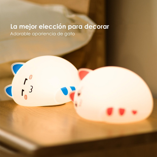 lampara velador infantil gatito silicona multi colores led