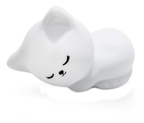 lampara velador infantil gato silicona multi colores led