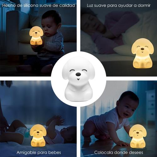lampara velador infantil perro silicona multi colores led