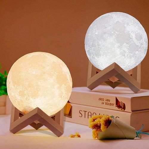 lampara velador led luna llena con base luz de noche deco