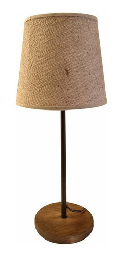 lampara velador mesa madera tela beige negro cuotas