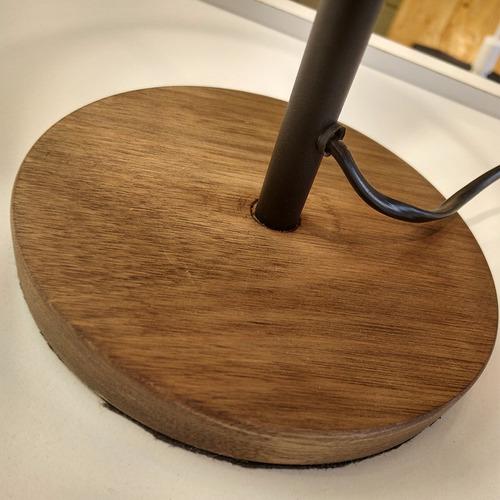 lampara velador mesa madera tela beige negro deco vintage