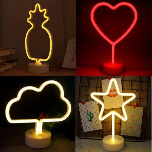 lámpara velador neon estrella luna corazón piña nube rayo