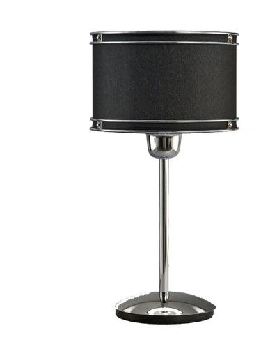 lampara velador pantalla cilindrica cromo deco moderna