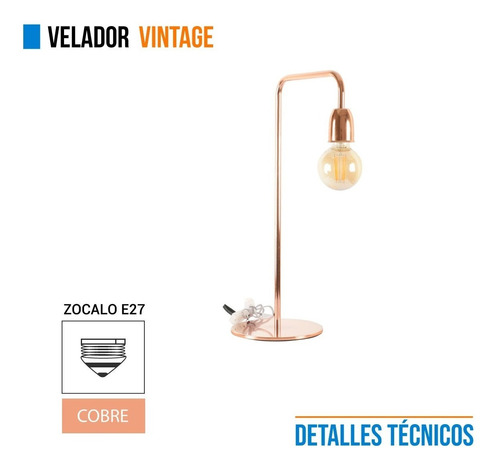 lampara velador vintage hierro cobre 220v escritorio e27