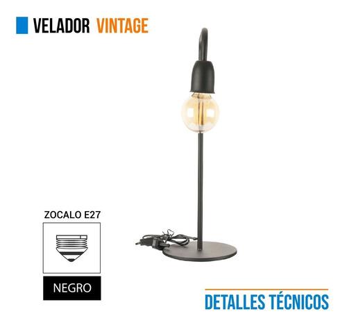 lampara velador vintage hierro negro 220v e27 cuotas
