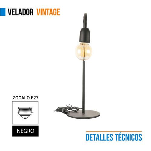 lampara velador vintage hierro negro 220v escritorio e27