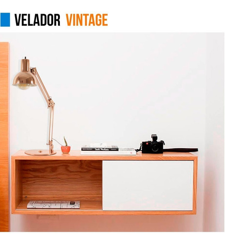 lampara velador vintage metal 220v escritorio e27 cuotas