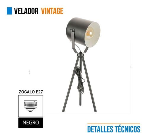 lampara velador vintage tacho metal negro escritorio e27
