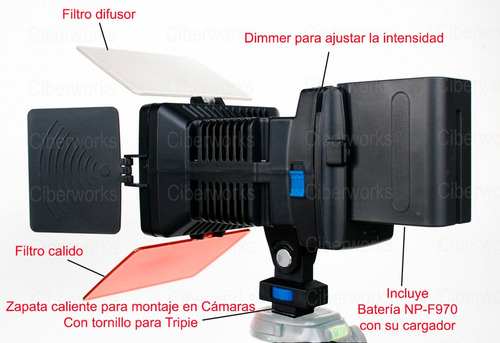 lámpara video profesional 12 leds súper luminosos