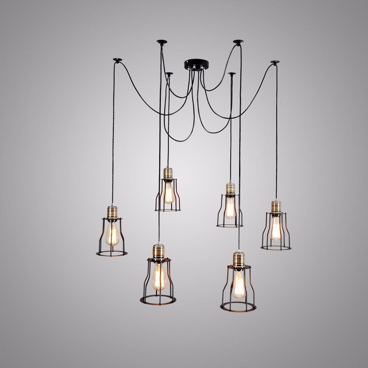 Lampara vintage bulbo edison industrial 6 luces colgante 4 en mercado libre - Lampara industrial vintage ...