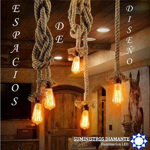 lampara vintage industrial una cuerda con foco edison 40w