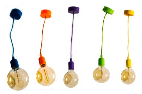 lampara vintage silicon socket techo edison textil colores