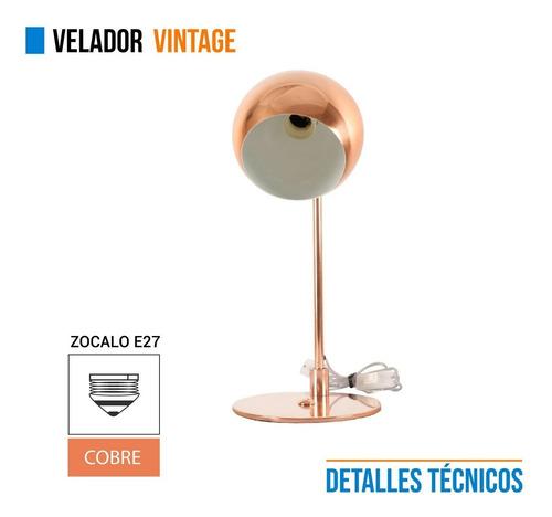 lampara vintage velador metal cobre 220v escritorio e27