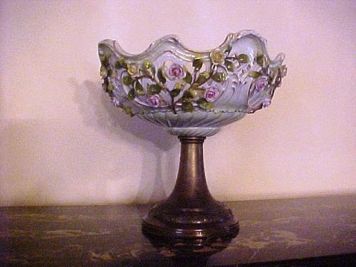 lampara y frutera- porcelana alemana - originalmente 1 pieza