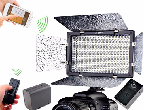 lampara yongnuo 300 led ver iii bluetooth 1 temp + bateria +
