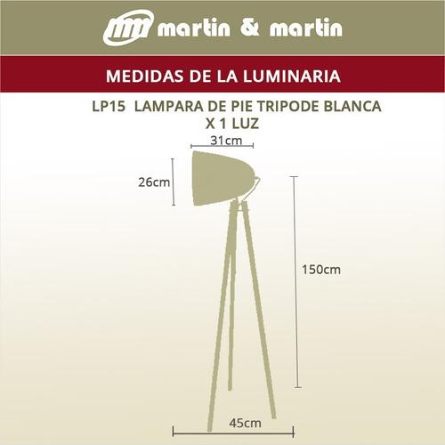 lamparapie tripode blanco escandinavo madera martin & martin