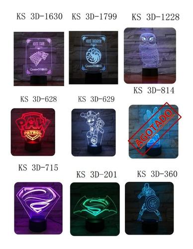 lámparas 3d led frozen, stitch, pokemon, y más.