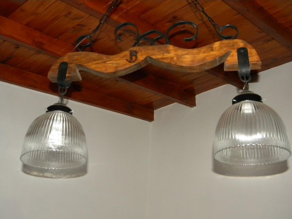 lamparas artesanal estilo campo hierro en madera la4650 141000 en mercado libre - Lamparas De Madera