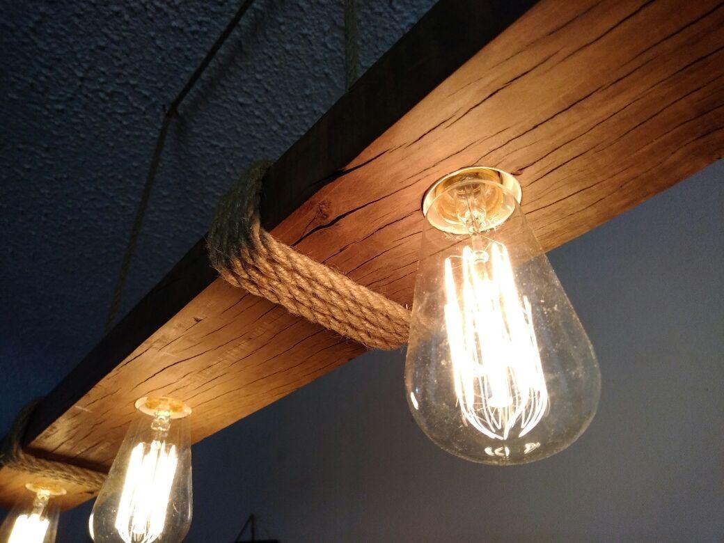 Lamparas colgante madera rusticas vintage en mercado libre - Lamparas techo rusticas ...