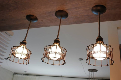 lamparas colgantes de alambre jaula industrial apto led