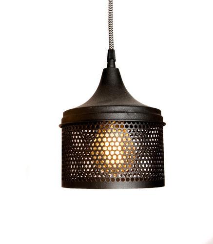 lamparas colgantes de techo industrial hierro luz led cod091