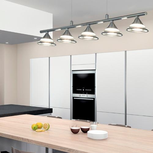 Lamparas Colgantes Modernas 5 Luces Cocina Led Acero Oferta - Luces-cocina