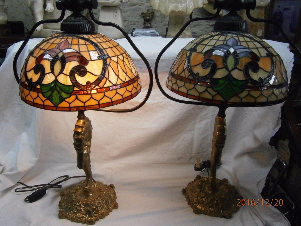 Lamparas de mesa cristal tifanny colores base en broncexc - Lamparas de cristal de colores ...